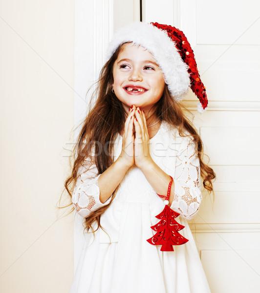 Stockfoto: Weinig · cute · meisje · Rood · hoed · wachten