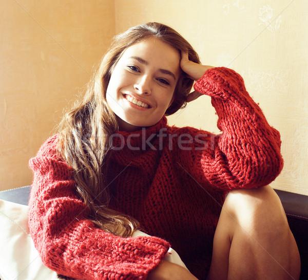 молодые довольно реальный женщину свитер шарф Сток-фото © iordani
