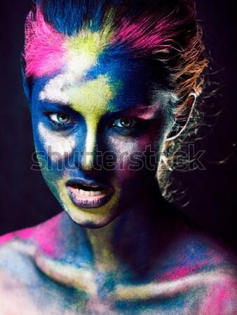 woman with creative makeup closeup like drops of colors, facepai Stock photo © iordani