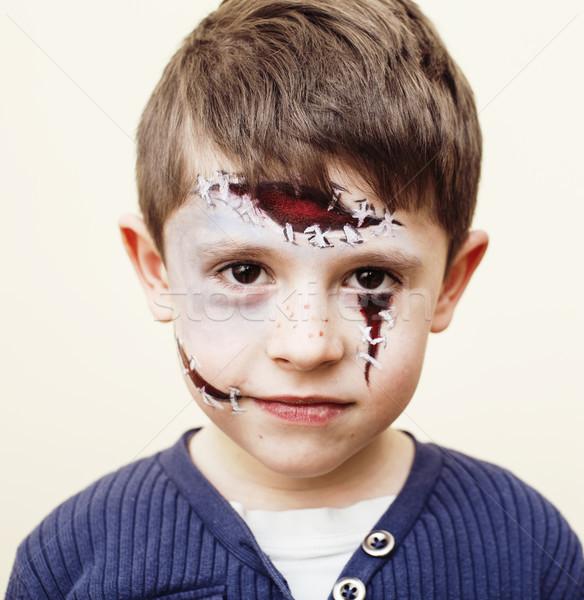 Kicsi aranyos gyermek készít születésnapi buli zombi Stock fotó © iordani