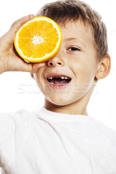 мало Cute мальчика оранжевый плод удвоится изолированный Сток-фото © iordani