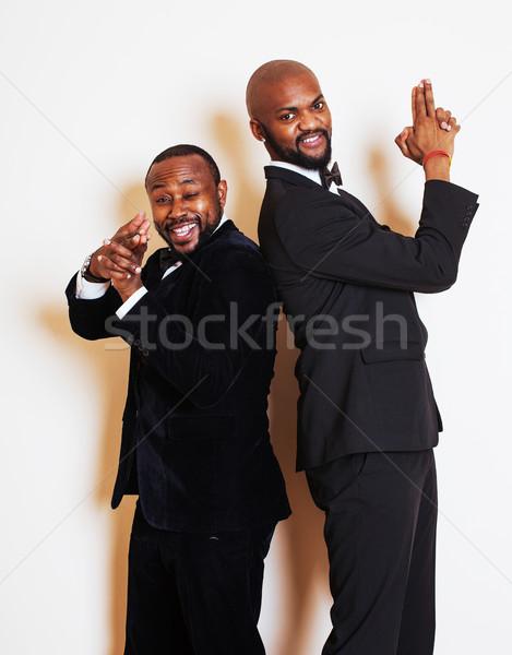 Сток-фото: два · бизнесменов · черный · Костюмы · позируют