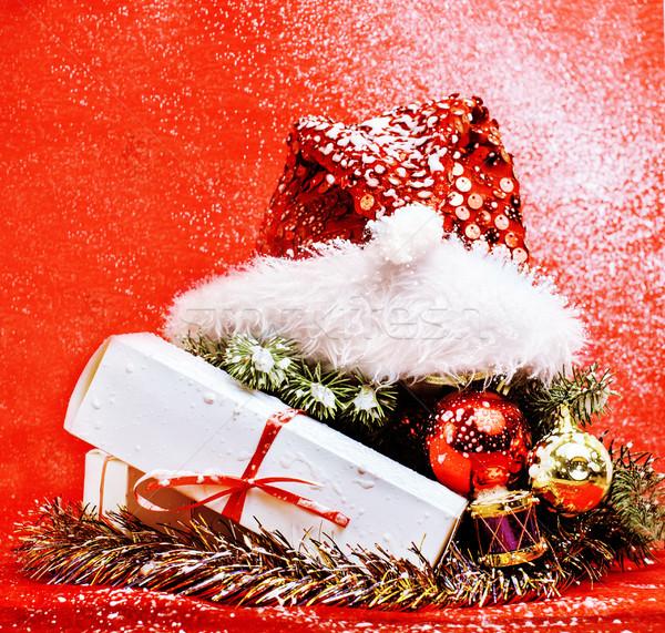 new year celebration, Christmas holiday stuff, tree, toys, decoration with snow isolated, santas red Stock photo © iordani