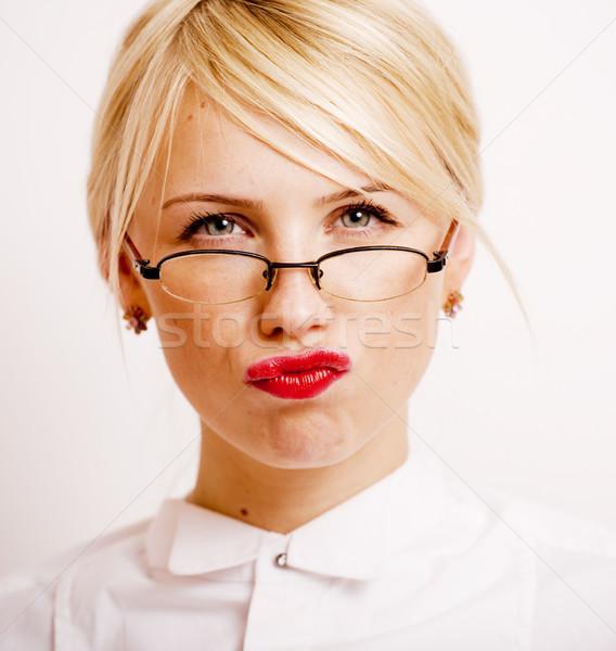 Empresária óculos loiro cabelo branco Foto stock © iordani