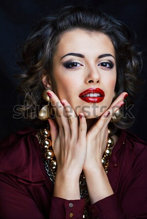 Stock photo: young sexy woman with leopard make up all over body, cat bodyart