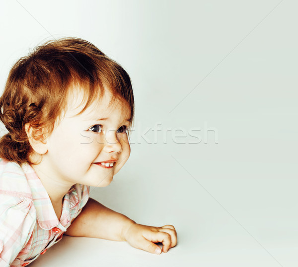 little cute daughter girl on white, happy smiling family inside isolated adorable, lifestyle modern Stock photo © iordani