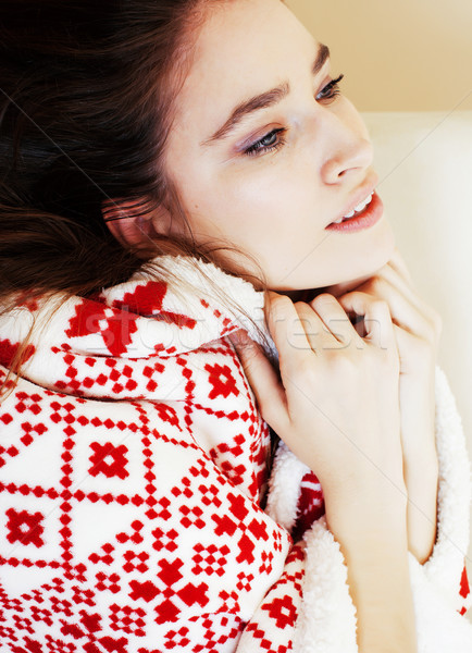 young pretty brunette girl in Christmas ornament blanket getting Stock photo © iordani