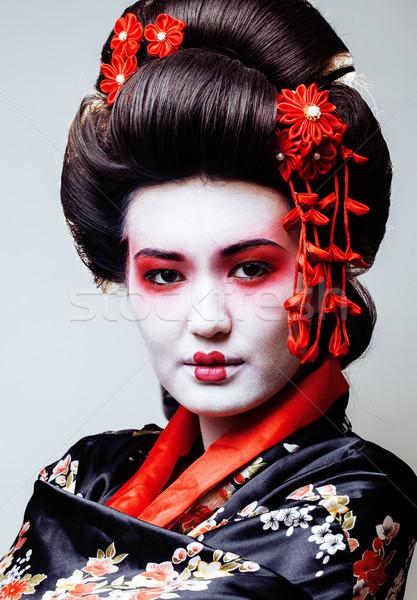 Stock fotó: Fiatal · csinos · gésa · fekete · kimonó · sakura