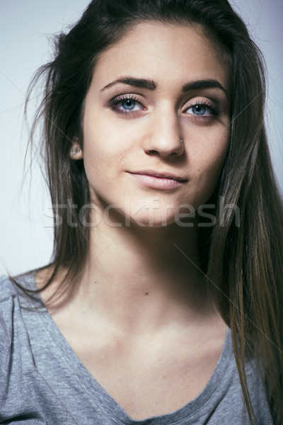 problem depressioned teenage with messed hair and sad face, real Stock photo © iordani