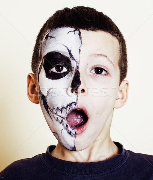 Mały cute chłopca jak szkielet świętować Zdjęcia stock © iordani
