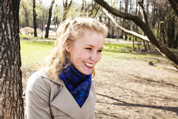 young pretty blonde girl engoing spring nature in park, lifestyle epople concept Stock photo © iordani