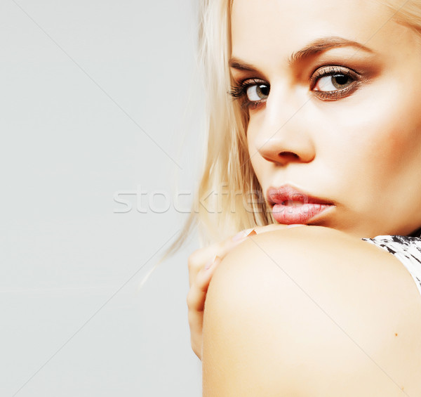 young pretty stylish hipster girl posing emotional isolated on w Stock photo © iordani