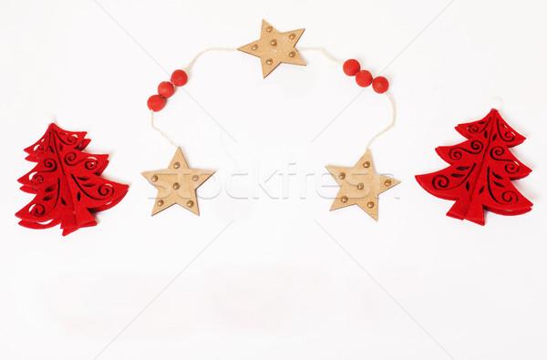 Noel dekorasyon yalıtılmış beyaz gönderemezsiniz kart Stok fotoğraf © iordani