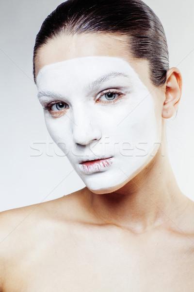 Foto stock: Jovem · mulher · bonita · branco · máscara · isolado