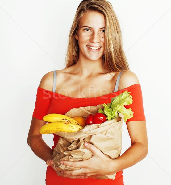 小さな かなり ブロンド 女性 ショッピング 食品 ストックフォト © iordani