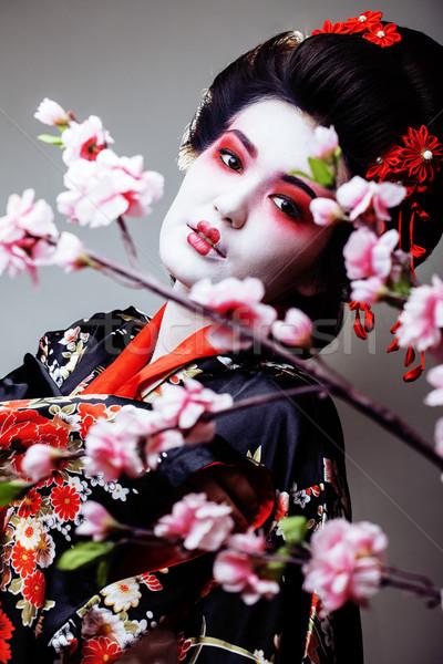 Jovem bastante gueixa quimono sakura ver Foto stock © iordani