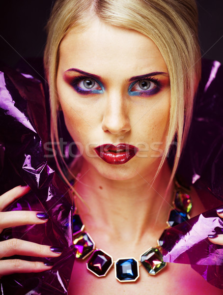 beauty woman with creative make up, many fingers on face  Stock photo © iordani