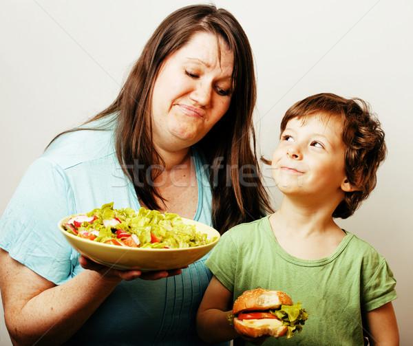 Donna matura insalata piccolo cute ragazzo Foto d'archivio © iordani