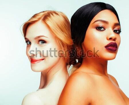 Stock fotó: Fa · csinos · elegáns · fiatal · nő · hajviselet · smink