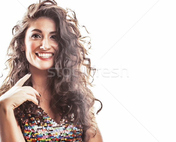 young brunette woman with curly hairstyle in fancy glamur dress  Stock photo © iordani
