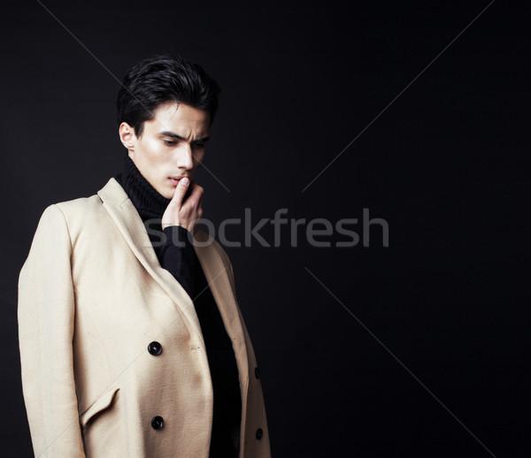 Serin gerçek genç yakışıklı moda stil Stok fotoğraf © iordani