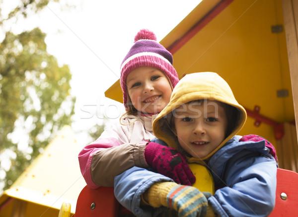 мало Cute мальчика девушки играет за пределами Сток-фото © iordani