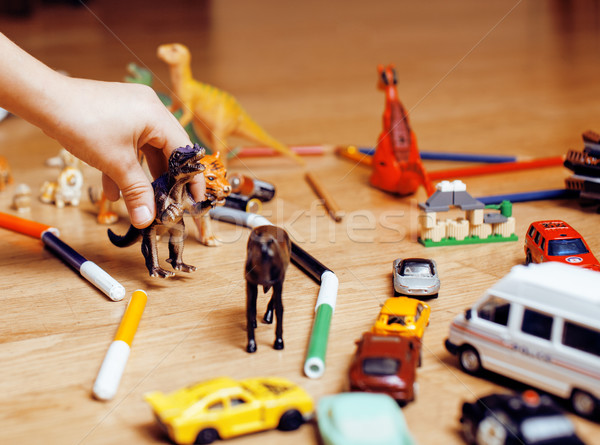 Dzieci gry zabawki piętrze domu mały Zdjęcia stock © iordani