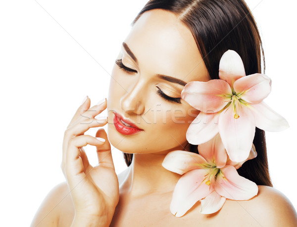 young attractive lady close up with hands on face isolated flowe Stock photo © iordani