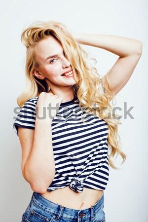 Foto stock: Jovem · mulher · bonita · posando · branco · isolado