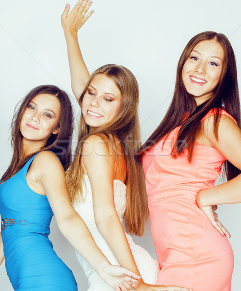 Veel vriendinnen viering witte glimlachend Stockfoto © iordani