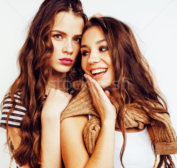 Stock photo: best friends teenage girls together having fun, posing emotional