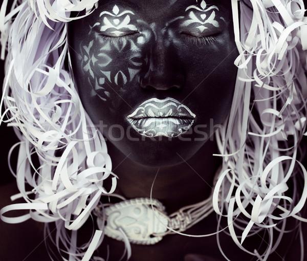 Creatieve make zoals ethiopiër masker witte Stockfoto © iordani
