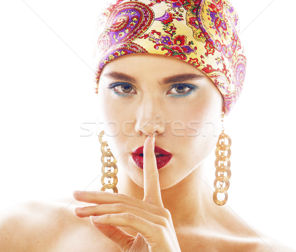 Genç güzel modern kız parlak kafa Stok fotoğraf © iordani
