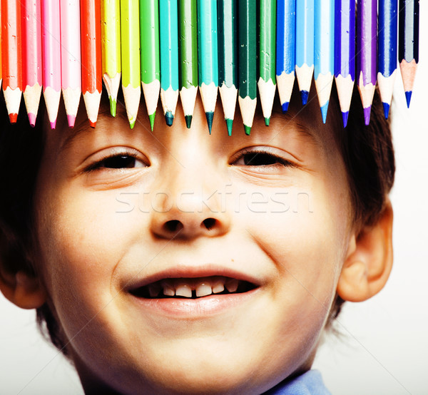 little cute boy with color pencils close up smiling Stock photo © iordani
