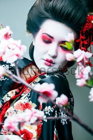 Bastante morena mulher rosa jóias preto Foto stock © iordani