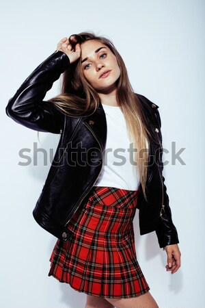 young pretty sexy woman in leather jacket, lifestyle hipster gir Stock photo © iordani