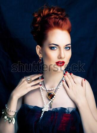 Szépség elegáns vörös hajú nő nő hajviselet manikűr Stock fotó © iordani