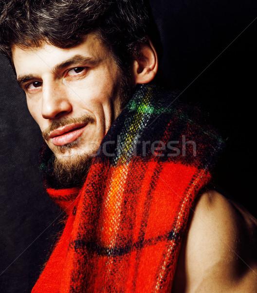 Portré jóképű érett modern szakállas hipszter Stock fotó © iordani