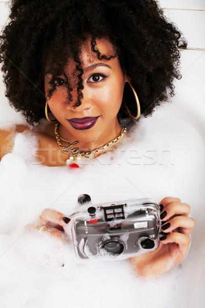 Genç genç kız banyo köpük Stok fotoğraf © iordani