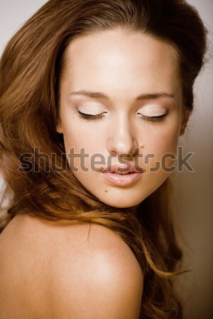beauty young brunette sad woman close up, nude makeup, lifestyle real people concept Stock photo © iordani