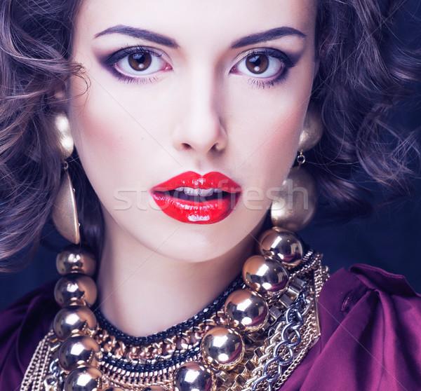 beauty rich brunette woman with a lot of jewellery Stock photo © iordani