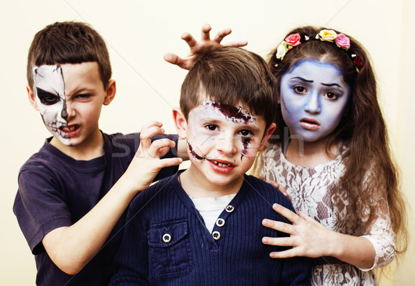 zombie apocalypse real kids concept. Birthday party celebration facepaint on children dead bride, sc Stock photo © iordani