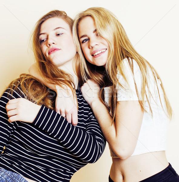 lifestyle and people concept: Fashion portrait of two stylish se Stock photo © iordani