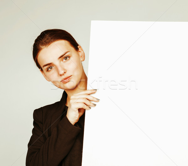 Jonge mooie brunette meisje witte Stockfoto © iordani