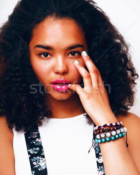 young pretty mulatto african american teenage girl with fashion  Stock photo © iordani