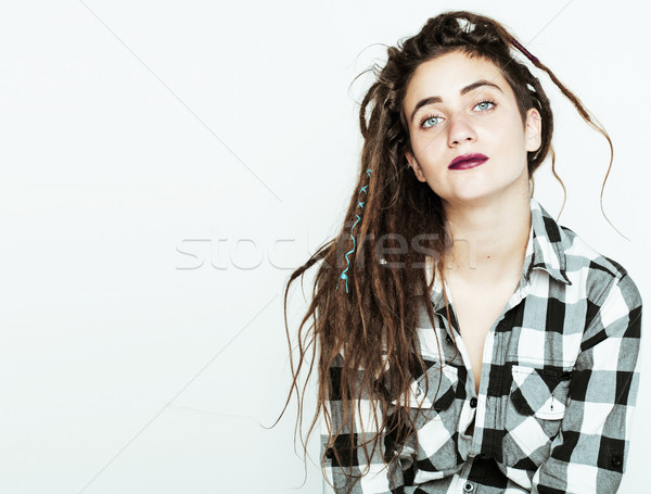 real caucasian woman with dreadlocks hairstyle funny cheerful faces on white Stock photo © iordani