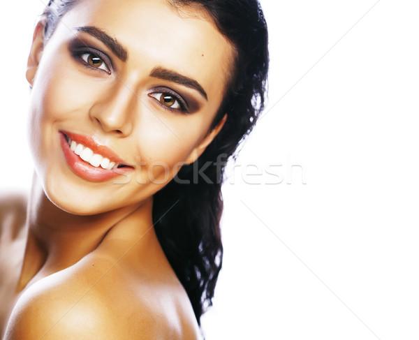 Perfetto bellezza bruna donna isolato bianco Foto d'archivio © iordani