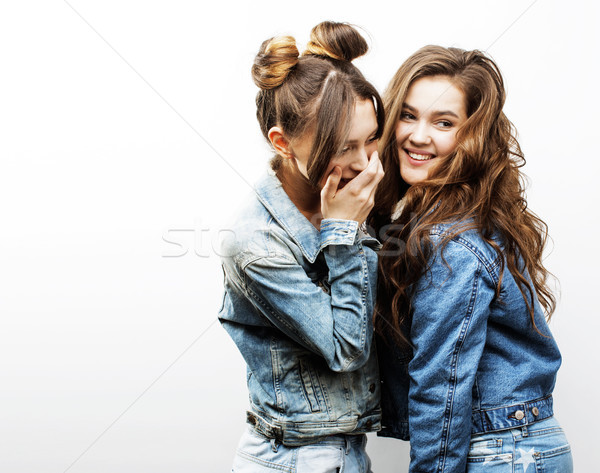 best friends teenage girls together having fun, posing emotional Stock photo © iordani
