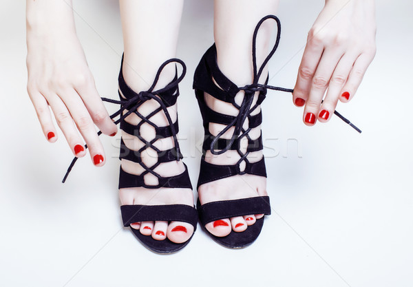 fashion concept people: woman with red nails manicure pedicure t Stock photo © iordani