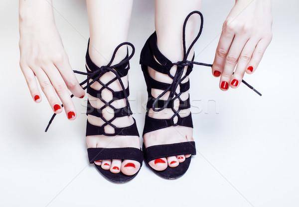 Mode mensen vrouw rode nagels manicure pedicure Stockfoto © iordani